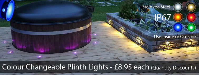 Colour Changeable LED Plinth and Deck Lights for the Kitchen, Bathroom, and Garden