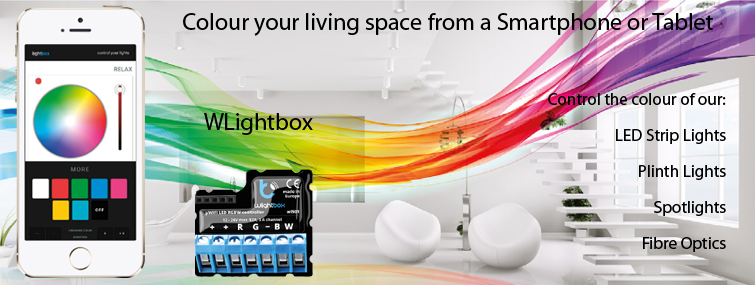 Control the colour of LED Strip, Spotlights and Fibre Optics from your Smartphone or Tablet