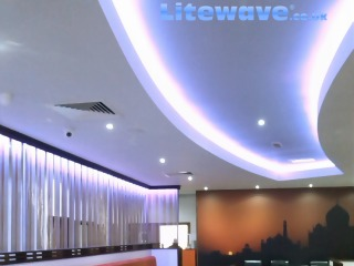 Ambient lighting installed in a restaurant