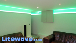 Lounge with Mood Lighting LEDs set into Aluminium Coving
