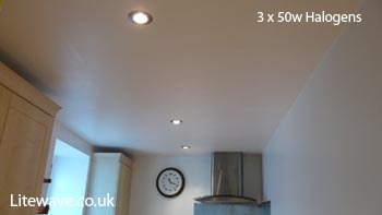50w Halogens fitted in a kitchen