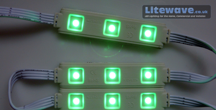 RGB LED Modules Displaying Green