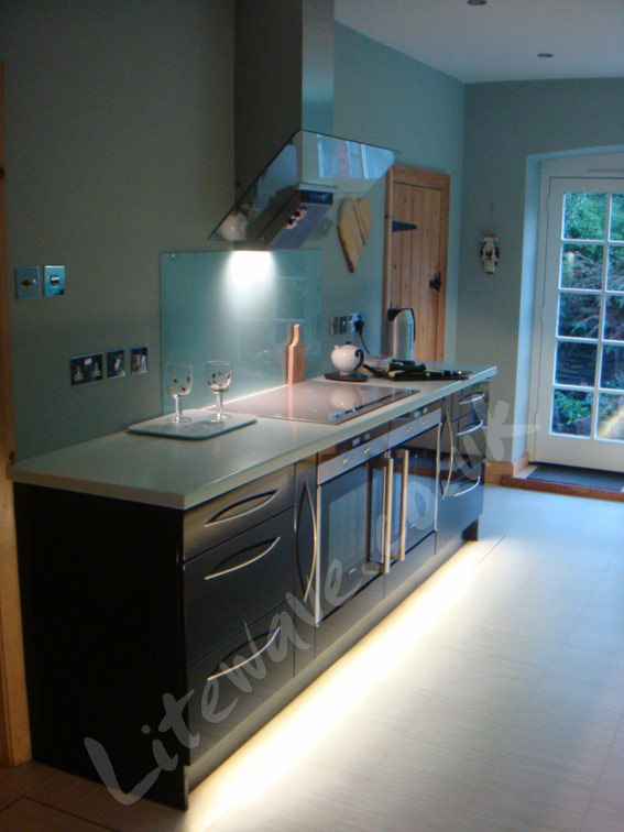 Left cabinet plinths illuminated with LED Tape