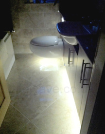 LED Strip used in the bathroom to create a glow under the toilet and cabinets
